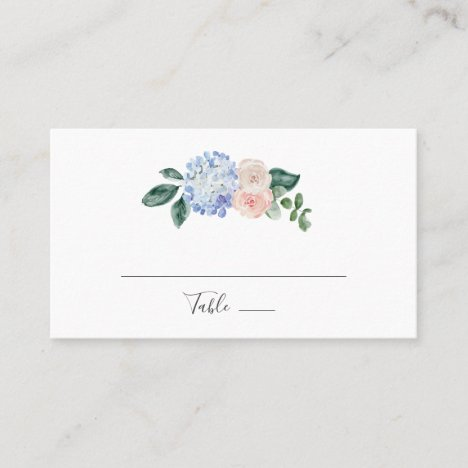 Elegant Blue Hydrangea | White Flat Wedding Place Card