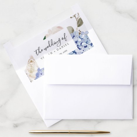 Elegant Blue Hydrangea | White Wedding Envelope Liner