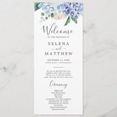Elegant Blue Hydrangea | White Wedding Program