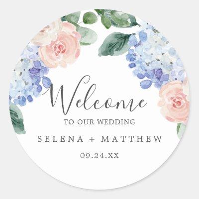 Elegant Blue Hydrangea | White Wedding Welcome Classic Round Sticker