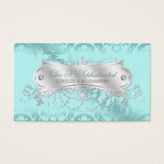 Elegant Blue Ice Damask Swirl Business Card