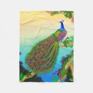 Elegant Blue Indian Peacock Fleece Blanket