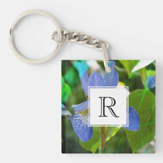 Elegant Blue Irises Pretty Summer Garden Photo Double-Sided Square Acrylic Keychain