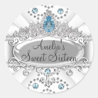 Elegant Blue Jewel Tiara Sweet Sixteen Sticker