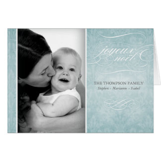 """Elegant Blue """"Joyeux Noël"""" photo card"""