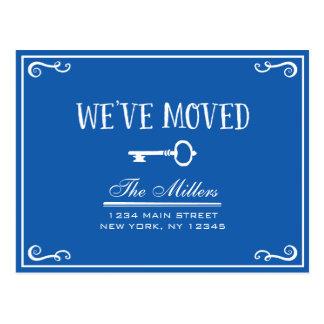 Elegant Blue Key Moving Announcement Postcard
