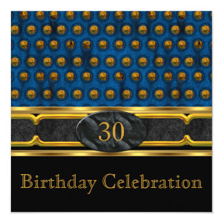 Elegant Blue Leather Metal Gold Birthday Party Card