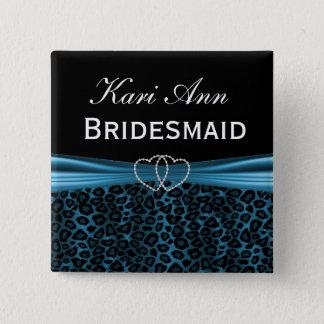 Elegant Blue Leopard Bridal Party Button