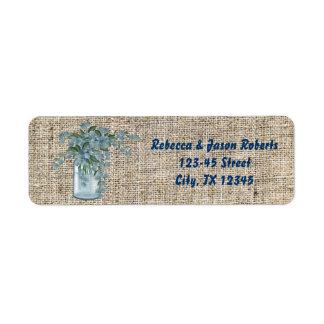 elegant blue lilac mason jar country wedding return address label