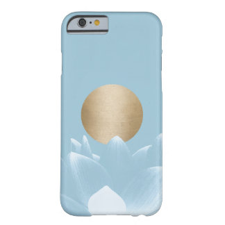 Elegant Blue Lotus Flower & Gold Sun Light Blue Barely There iPhone 6 Case