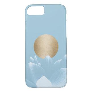 Elegant Blue Lotus Flower & Gold Sun Light Blue iPhone 7 Case