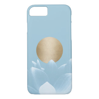 Elegant Blue Lotus Flower & Gold Sun Light Blue iPhone 8/7 Case