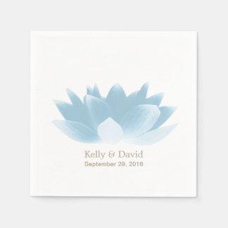 Elegant Blue Lotus Flower Wedding Paper Napkin