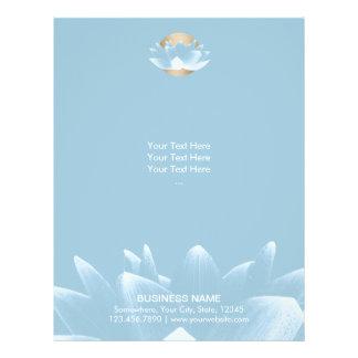 Elegant Blue Lotus & Gold Sun Light Blue Flyer