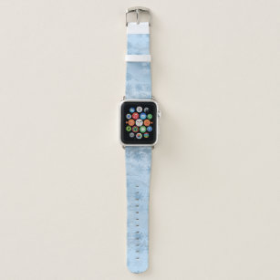 Elegant blue marble glitter snowflake pattern apple watch band