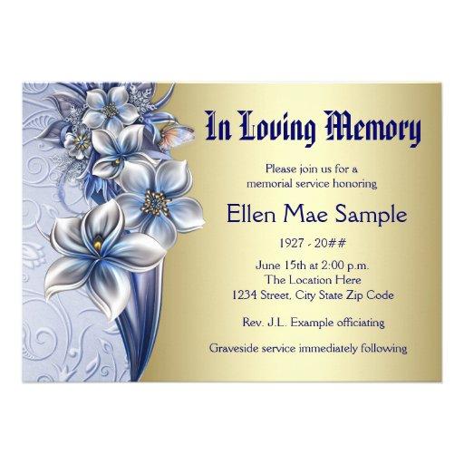 Personalized memorial service notices invitations elegant blue memorial service announcements stopboris Gallery