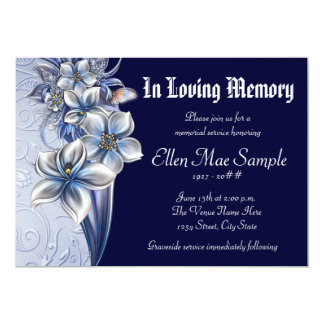 "Elegant Blue Memorial Service Announcements 5"" X 7"" Invitation Card"