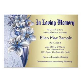 "Elegant Blue Memorial Service Announcements 5"" X 7"" Invitation Card"