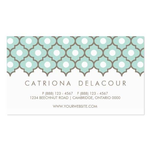 Elegant Blue Moroccan Pattern Business Card (back side)