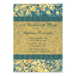 Elegant blue mosaic bachelorette party invitation