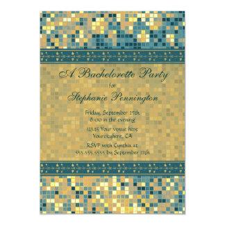 "Elegant blue mosaic bachelorette party invitation 5"" x 7"" invitation card"
