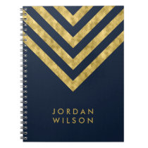 Elegant Blue Name Faux Gold Chevron Pattern Notebook