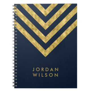 Elegant Blue Name Faux Gold Chevron Pattern Notebook