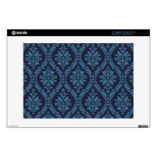 """elegant blue navy damask pattern 13"""" laptop decal"""