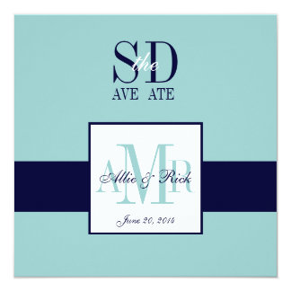 Elegant Blue Navy Save the Date Cards