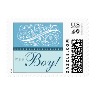 Elegant Blue New Baby Postage Stamp