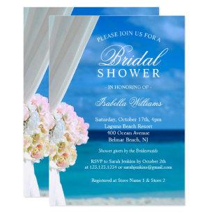 Beach bridal shower invitations zazzle elegant blue ocean beach bridal shower invitation filmwisefo