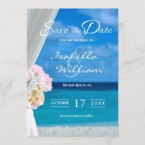 Elegant Blue Ocean Beach Save the Date Invitation