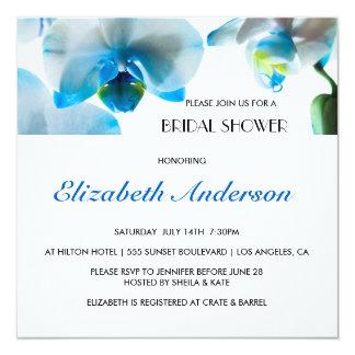 Elegant Blue Orchids Bridal Shower Invitation