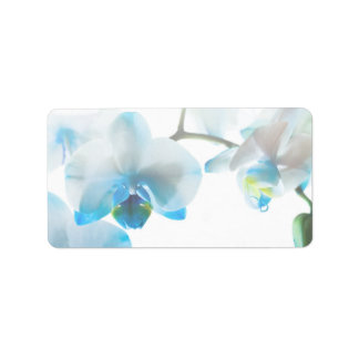 Elegant Blue Orchids Custom Labels