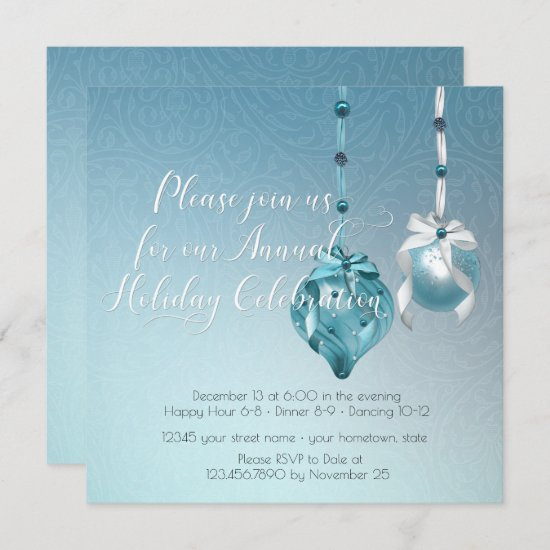 Elegant Blue Ornaments Damask Christmas Party Invitation