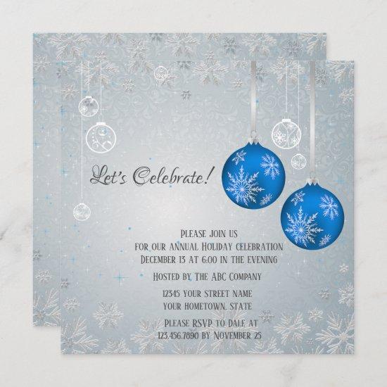 Elegant Blue Ornaments Silver Snowflakes Christmas Invitation