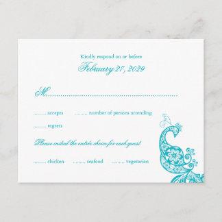 Elegant Blue Paisley Peacock Wedding RSVP Card