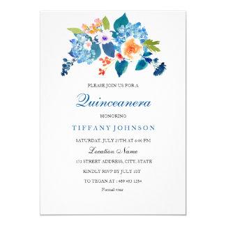 Elegant Blue & Peach Floral Quinceanera Invitation