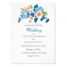 Elegant Blue & Peach Floral Wedding Invitation at Zazzle