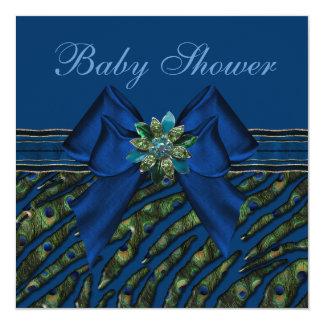 Elegant Blue Peacock Animal Print Baby Shower Personalized Invitation