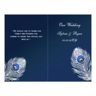 Elegant blue peacock folded Wedding program