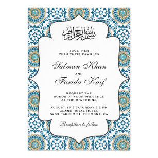 Persian wedding invitations zazzle elegant blue persian mosaic islamic muslim wedding invitation filmwisefo