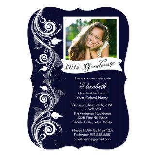 Elegant Blue Photo Graduation Party Invitation