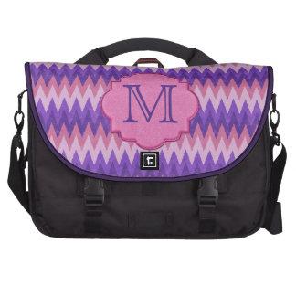 Elegant Blue & Pink Chevron Monogram Laptop Commuter Bag