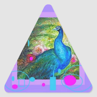 Elegant Blue Pracock Gifts by Sharles Triangle Sticker