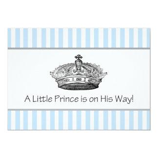 Elegant Blue Prince Baby Boy Shower 5x7 Paper Invitation Card