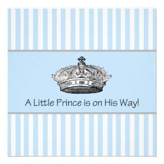 Elegant Blue Prince Baby Boy Shower Custom Invites