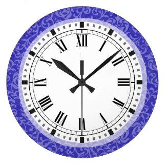 Elegant Blue Purple Floral Damask Arts and Crafts Clock