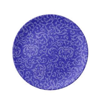 Elegant Blue Purple Floral Damask Arts and Crafts Porcelain Plate