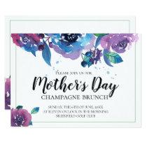 Elegant Blue Purple Twilight Floral Mothers Day Invitation